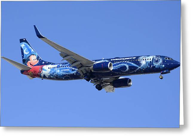 Westjet 737-8ct C-gwsz Magic Plane Phoenix Sky Harbor February 8 2015 Greeting Card by Brian Lockett