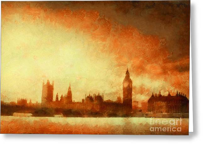 Westminster At Dusk Greeting Card by Pixel Chimp