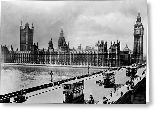 Westminster Bridge And Parliament Greeting Card by Library Of Congress