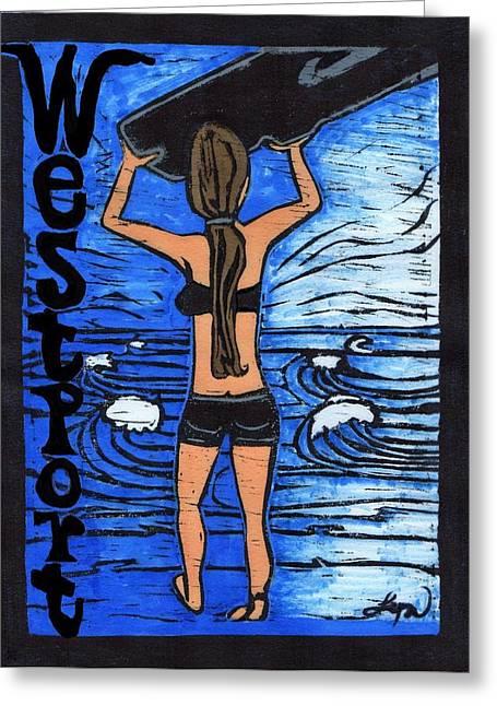 Westport Surfer Chick Greeting Card by Lyn Hayes
