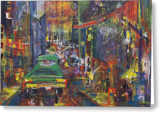 Wet China Lights Greeting Card