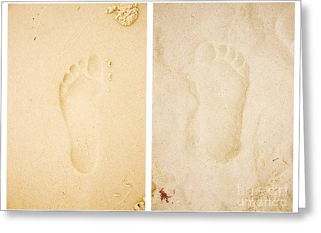 Wet Dry Footprints Greeting Card by Jorgo Photography - Wall Art Gallery
