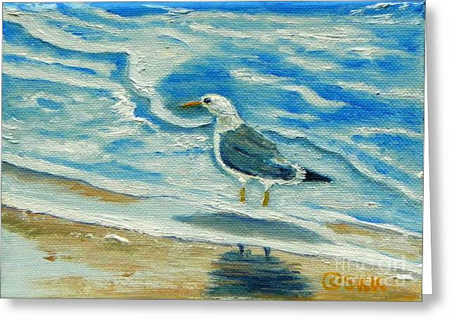 Greeting Card featuring the painting Wet Feet - Shore Bird by Shelia Kempf