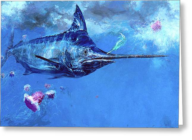 Wet Fly And Blue Marlin, Bill Wrapped Greeting Card by Stanley Meltzoff / Silverfish Press