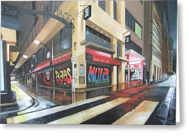 Wet Night In Melbourne Greeting Card by Clive Holden