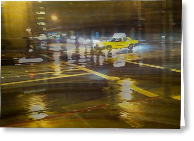 Greeting Card featuring the photograph Wet Pavement by Alex Lapidus