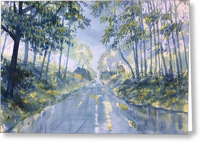 Wet Road In Woldgate Greeting Card