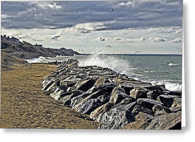 Wet Rock Walk  Greeting Card by Constantine Gregory