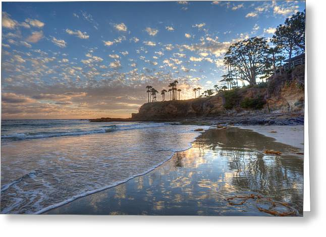 Wet Sand Reflections Laguna Beach Greeting Card