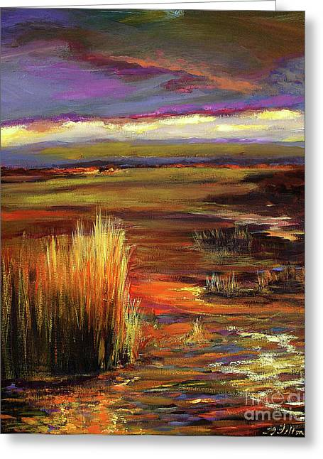 Wetlands Sunset Iv Greeting Card