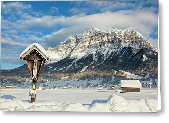 Wetterstein Mountain Chain With Mt Greeting Card by Martin Zwick
