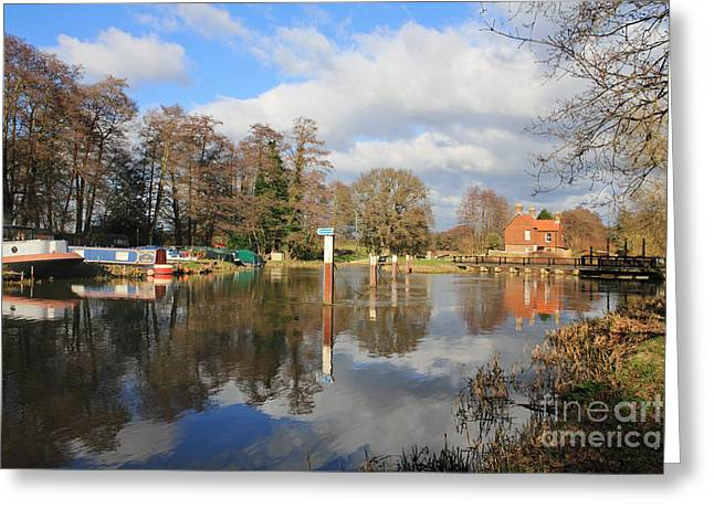 Wey Canal Surrey England Uk Greeting Card
