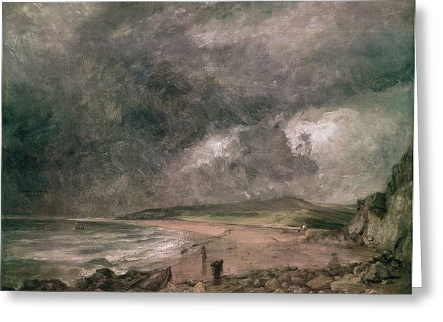 Weymouth Bay With Approaching Storm Oil On Canvas Greeting Card by John Constable