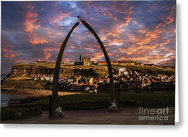 Whale Bones Of Whitby Greeting Card by Sandra Cockayne