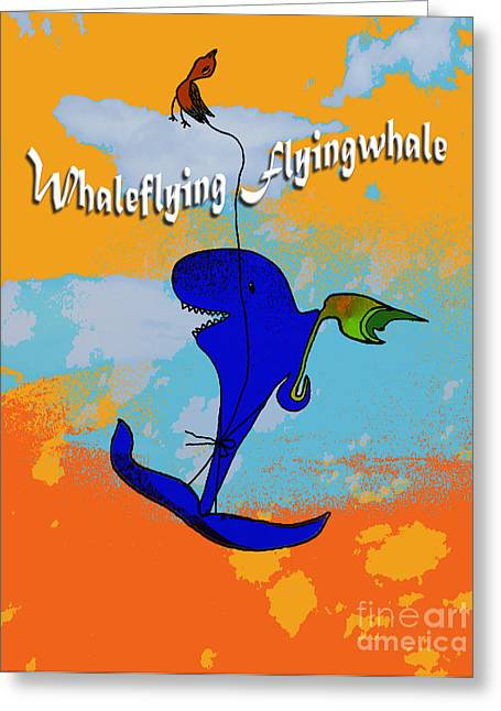 Whale Flying Flying Whale Greeting Card by Mukta Gupta