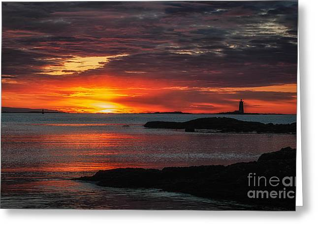 Whaleback Lighthouse Greeting Card by Scott Thorp