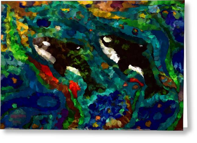 Whales At Sea - Orcas - Abstract Ink Painting Greeting Card