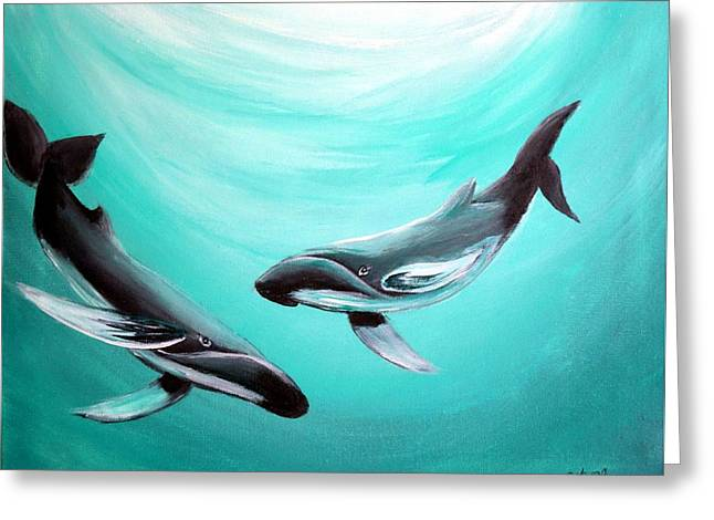 Greeting Card featuring the painting Whales by Bernadette Krupa