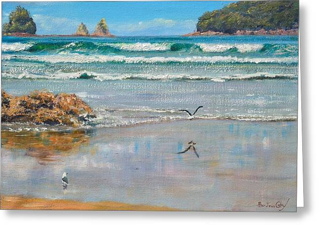 Whangamata Beach Greeting Card by Peter Jean Caley