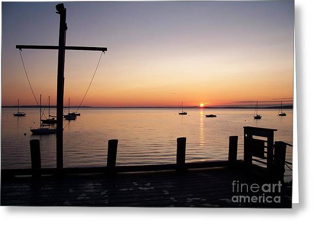 Wharf At Bayside Greeting Card by Ursula Lawrence