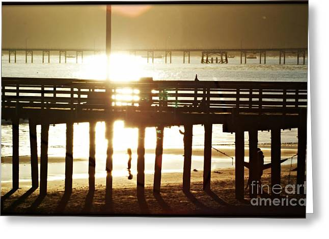 Greeting Card featuring the photograph Wharf At Sunset by Leslie Hunziker