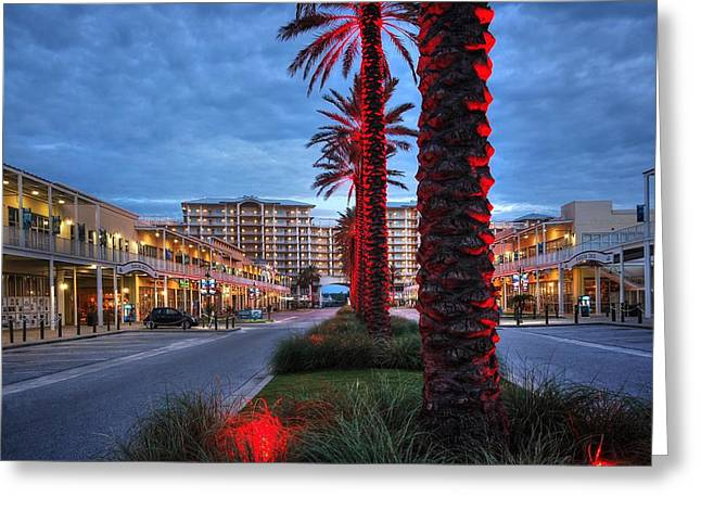 Wharf Red Lighted Trees Greeting Card by Michael Thomas