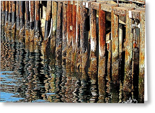 Wharf Reflections Greeting Card by Jim Pavelle