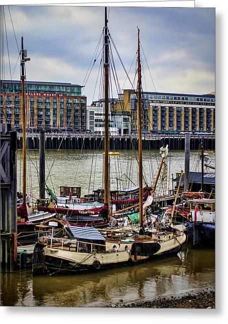 Wharf Ships Greeting Card