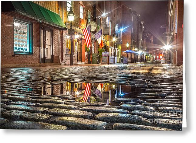 Wharf Street Puddle Greeting Card