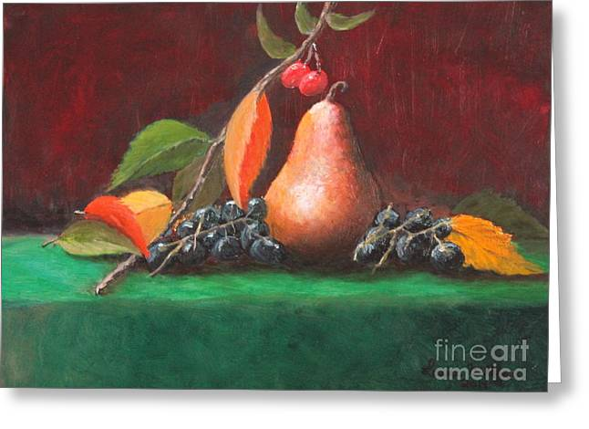 Bosc Pear Greeting Card by Louise Williams