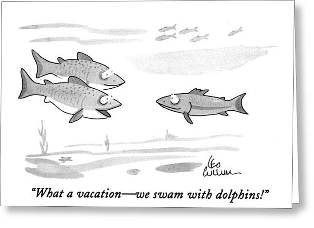 What A Vacation - We Swam With Dolphins! Greeting Card by Leo Cullum