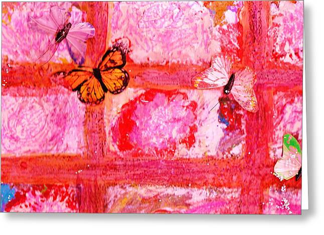 What Are All These Butterflies Doing Inside My Window ?  Work In Progress  Greeting Card by Anne-Elizabeth Whiteway