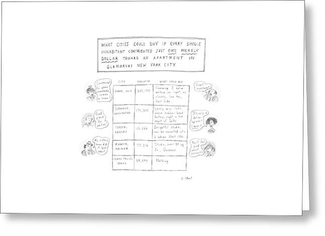 What Cities Could Buy If Every Single Inhabitant Greeting Card by Roz Chast