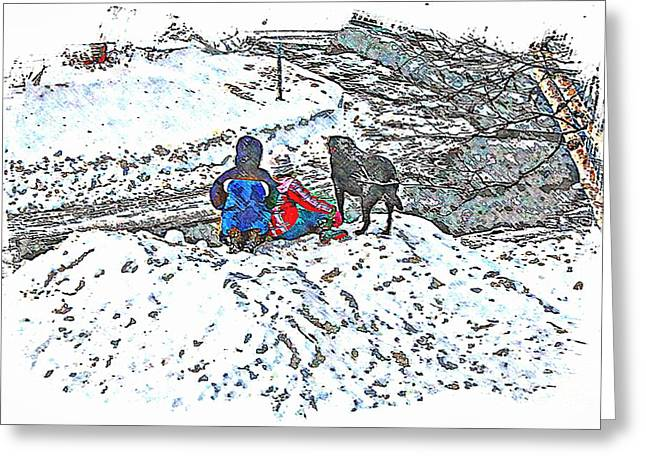 What Fascinates Children And Dogs -  Snow Day - Winter Greeting Card by Barbara Griffin