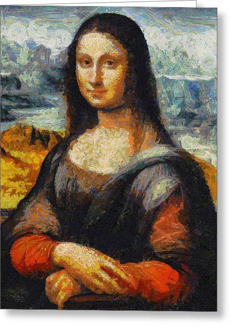 Greeting Card featuring the painting What If Vincent Van Gogh Had Painted Mona Lisa? by Kai Saarto