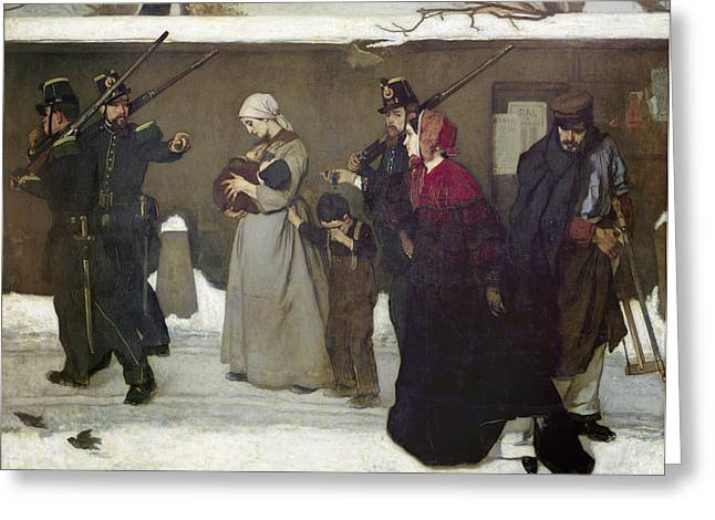 What Is Called Vagrancy Or, The Hunters Of Vincennes, 1854 Oil On Canvas Greeting Card by Alfred Emile Stevens