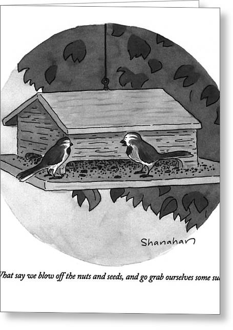 What Say We Blow Off The Nuts And Seeds Greeting Card by Danny Shanahan