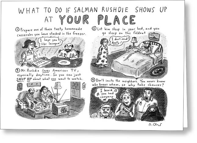 What To Do If Salman Rushdie Shows Greeting Card by Roz Chast