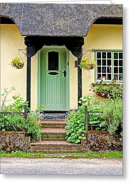 What's Behind The Green Door Greeting Card by Gill Billington