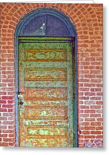 What's Behind The Green Door Greeting Card by Larry Bishop