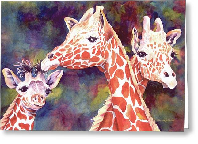 Greeting Card featuring the painting What's Up Dad - Giraffes by Roxanne Tobaison