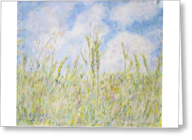 Wheat Field And Wildflowers Greeting Card