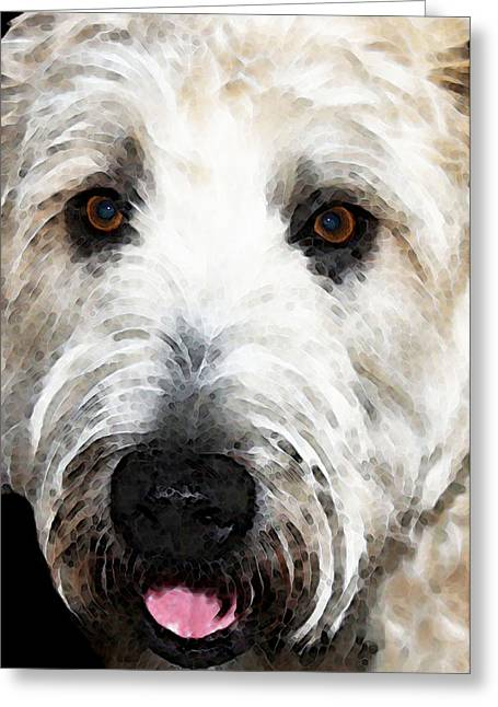 Wheaten Terrier - Happy Dog Greeting Card by Sharon Cummings