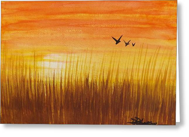 Wheatfield At Sunset Greeting Card