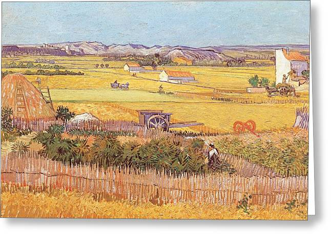 Wheatfields Greeting Card by Vincent van Gogh