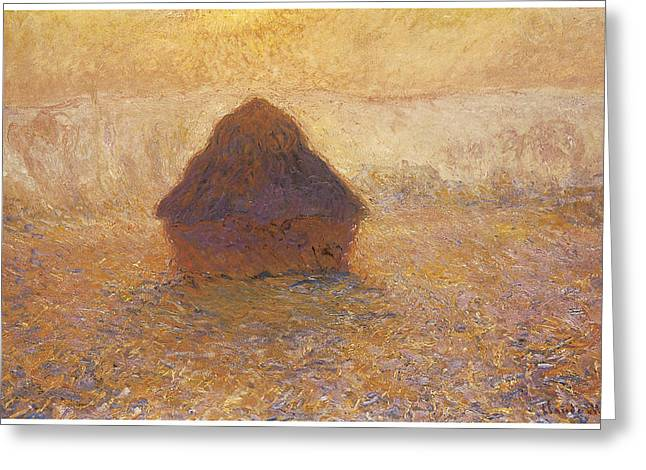 Wheatstack Sun In The Mist Greeting Card by Claude Monet