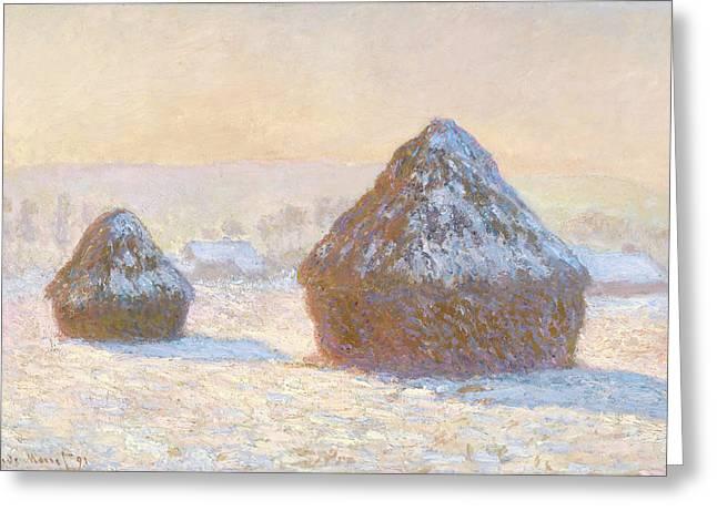 Wheatstacks, Snow Effect, Morning Meules Greeting Card