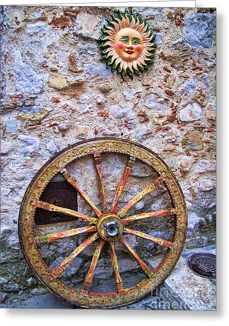 Wheel And Sun In Taromina Sicily Greeting Card by David Smith