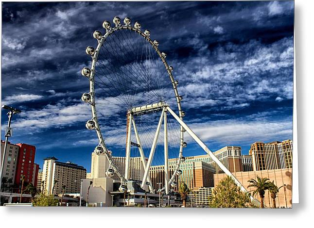 Greeting Card featuring the photograph Wheel In The Sky Las Vegas by Michael Rogers