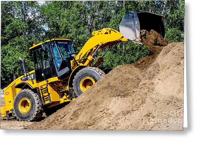 Dirt Pile Greeting Cards - Wheel Loader Construction Site Greeting Card by Gary Whitton